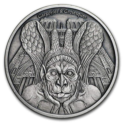 2017 Chad 1 oz Antique Silver Gargoyles and Grotesques (Spitter) - HMint Precious Metals