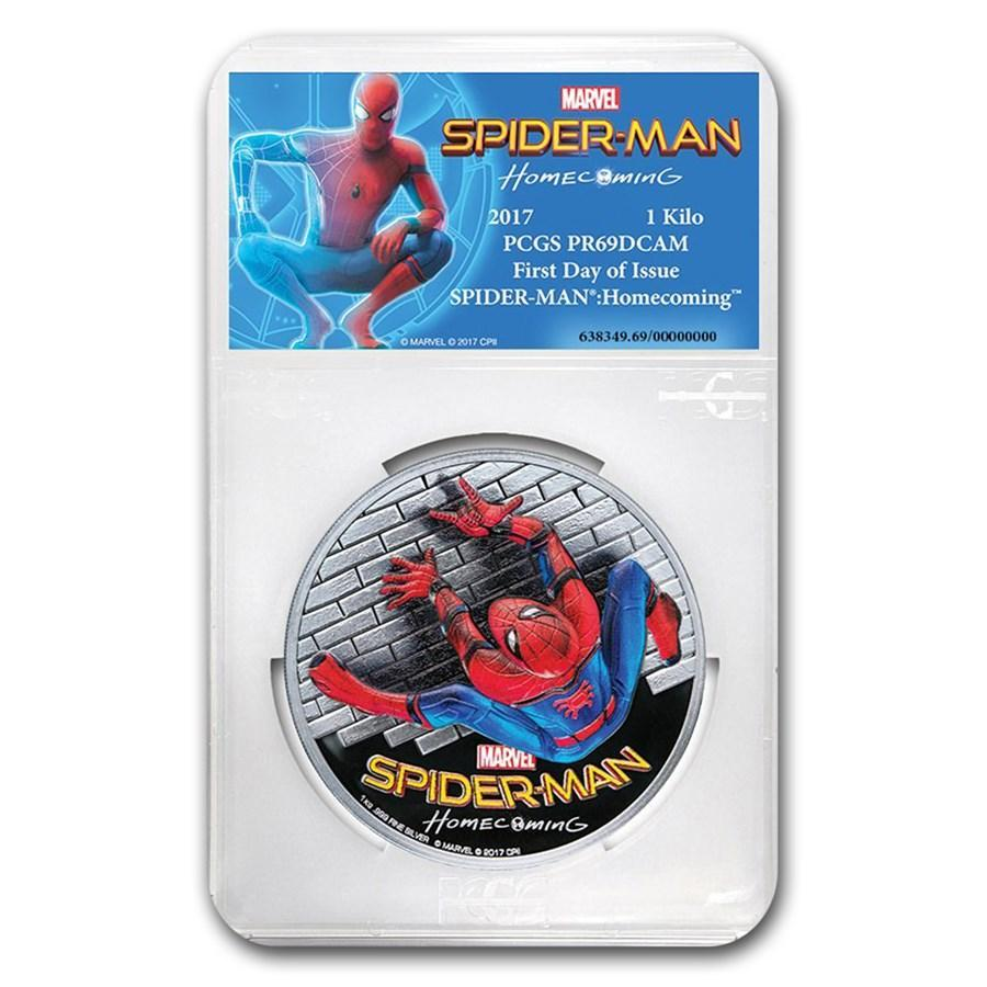 2017 Cook Islands 1 Kilo Silver $100 SPIDERMAN Homecoming HR PR-69 PCGS (First Day) - HMint Precious Metals