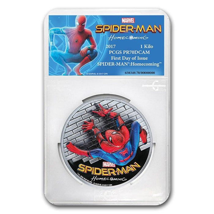 2017 Cook Islands 1 Kilo Silver $100 SPIDERMAN Homecoming HR PR-70 PCGS (First Day) - HMint Precious Metals