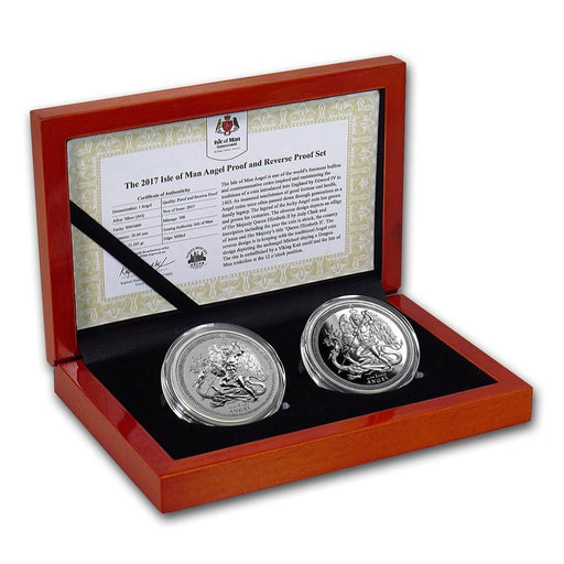 2017 Isle of Man 2-Coin Silver Angel Proof/Reverse Proof Set - HMint Precious Metals