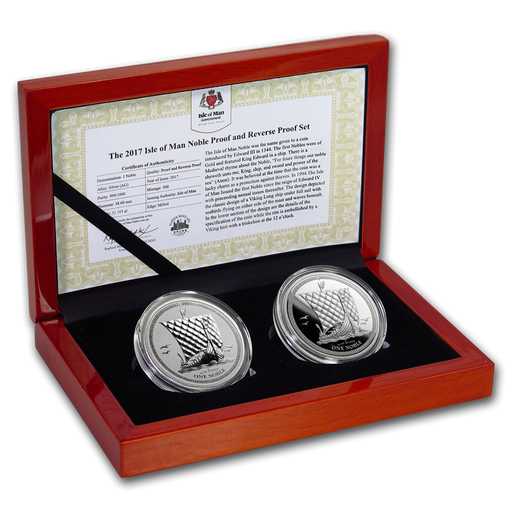 2017 Isle of Man 2-Coin Silver Noble Proof/Reverse Proof Set - HMint Precious Metals