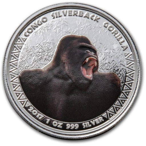 2017 Republic of Congo Silver 1 oz Silverback Gorilla (Colorized) - HMint Precious Metals