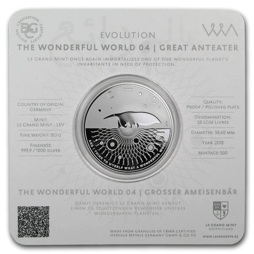 2018 Germany 1 oz Silver Proof Evolution I Wonderful World (Anteater) - HMint Precious Metals