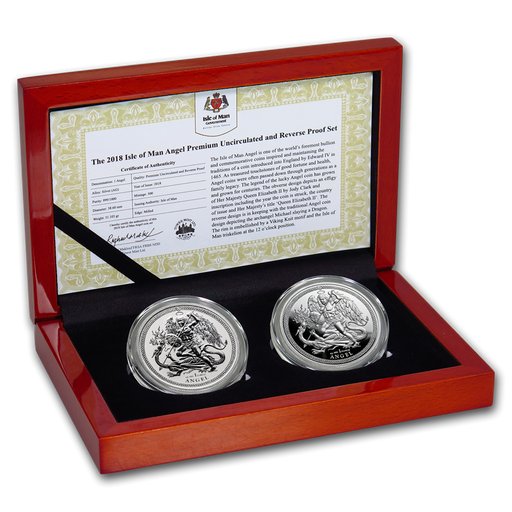 2018 Isle of Man 2-Coin Silver Angel Premium BU/Reverse Proof Set - HMint Precious Metals
