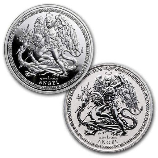 2018 Isle of Man 2-Coin Silver Angel Proof/Reverse Proof Set - HMint Precious Metals