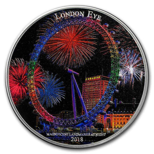 2018 Ivory Coast 2 oz Silver Magnificent Landmarks London Eye - HMint Precious Metals