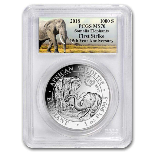 2018 Somalia 1 oz Platinum Elephant 15th Ann. Jubilee MS-70 PCGS (First Strike) - HMint Precious Metals