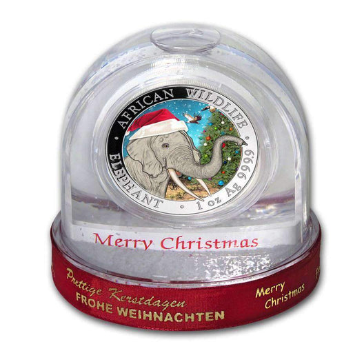 2018 Somalia 1 oz Silver Elephant Christmas Issue in Snow Globe - HMint Precious Metals