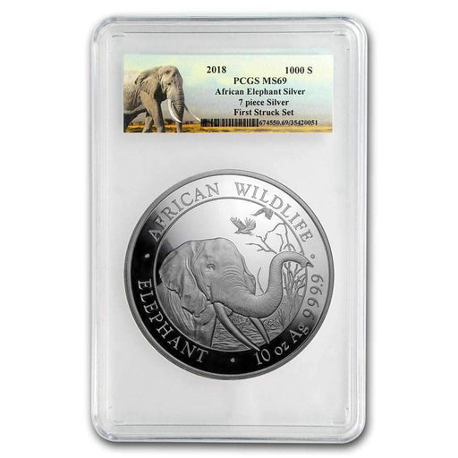 2018 Somalia 10 oz Silver Elephant MS-69 PCGS (First Strike) - HMint Precious Metals