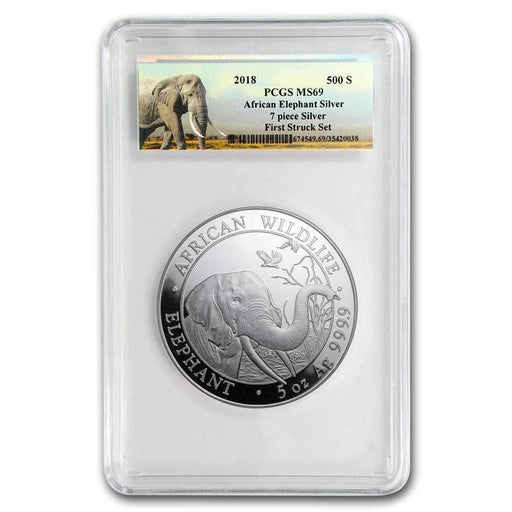2018 Somalia 5 oz Silver Elephant MS-69 PCGS (First Strike) - HMint Precious Metals