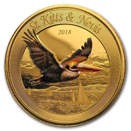 2018 St. Kitts & Nevis 1 oz Gold Pelican BU (Colorized) - HMint Precious Metals