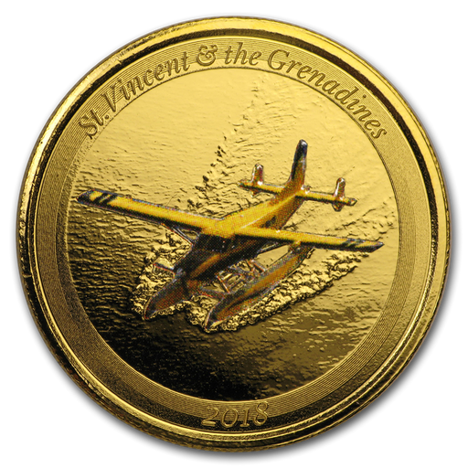 2018 St. Vincent & The Grenadines 1 oz Gold Seaplane (Colorized) - HMint Precious Metals