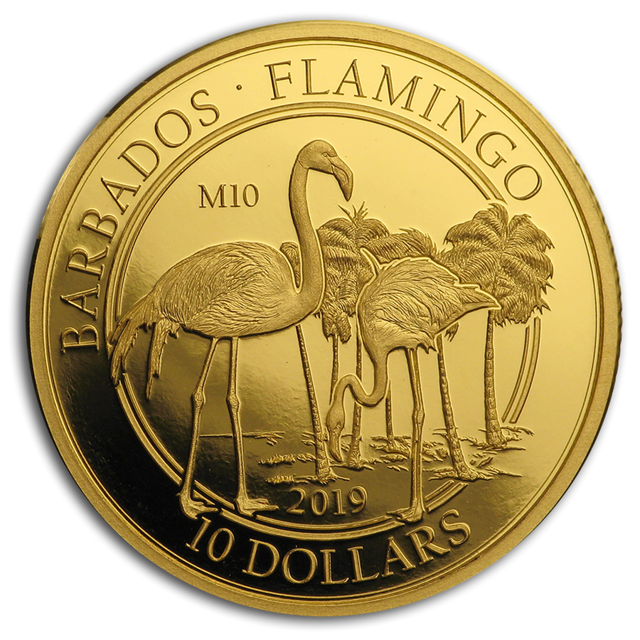 2019 Barbados 1/10 oz Proof Gold The Flamingo (M10 Privy Mark) - HMint Precious Metals