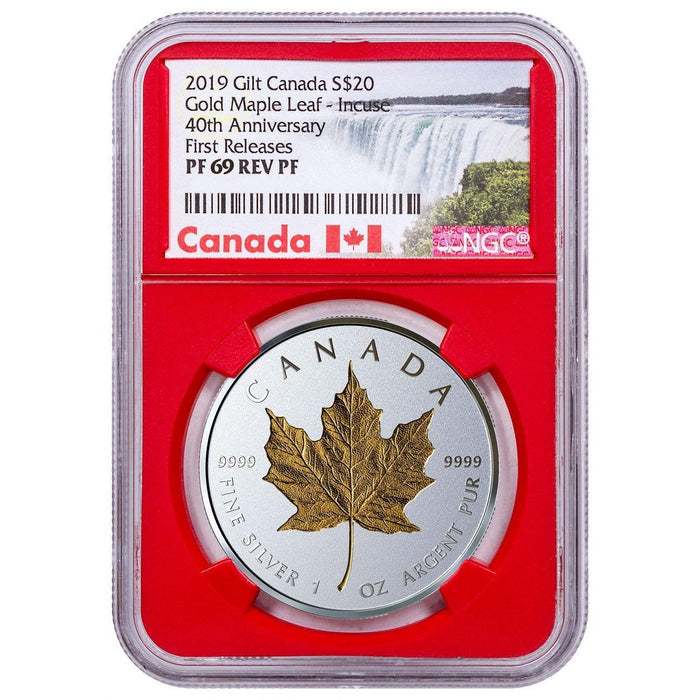 2019 Canada 1 oz Silver $20 Maple Leaf Incuse Gilt Reverse Proof NGC PF-69 (First Releases) - HMint Precious Metals