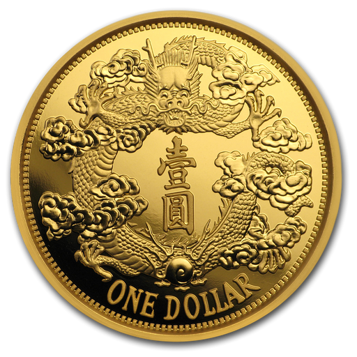 2019 China 1 oz Gold Tientsin Dragon Dollar Restrike (PU) - HMint Precious Metals