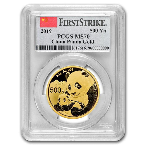 2019 China 30 gram Gold Panda MS-70 PCGS (First Strike, Flag Label) - HMint Precious Metals
