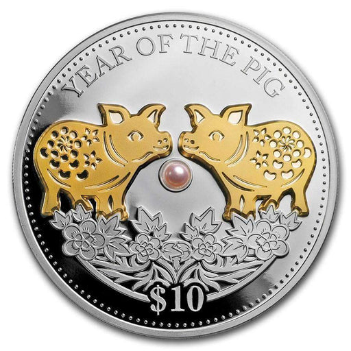 2019 Fiji 1 oz Silver Year of the Pig (Gold Gilded w/ Pearl) - HMint Precious Metals