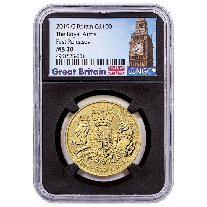 2019 Great Britain 1 oz Gold Royal Arms NGC MS-70 (First Releases) - HMint Precious Metals