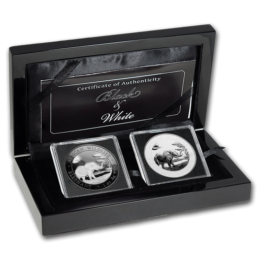 2019 Somalia 2-Coin 1 oz Silver Elephant Black & White Set - HMint Precious Metals
