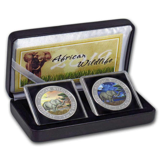 2019 Somalia 2-Coin 1 oz Silver Elephant Set Day/Night (Colored) - HMint Precious Metals