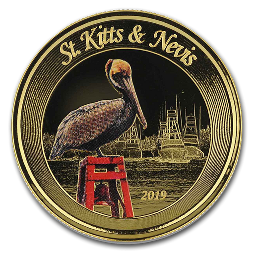 2019 St. Kitts & Nevis 1 oz Gold Pelican (Colorized) - HMint Precious Metals