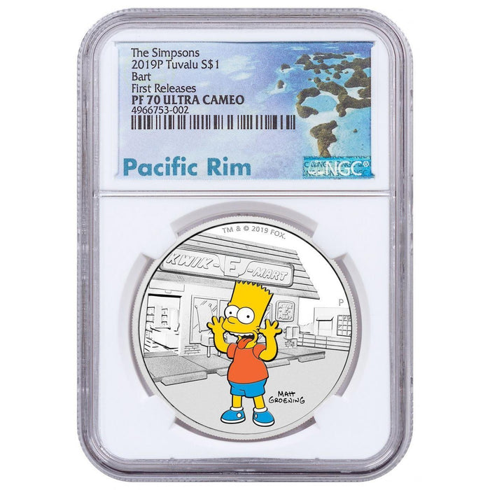 2019 Tuvalu 1 oz Silver The Simpsons Bart Proof NGC PF-70 (First Releases) - HMint Precious Metals