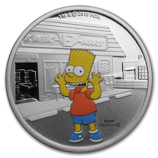 2019 Tuvalu 1 oz Silver The Simpsons Bart Proof - HMint Precious Metals