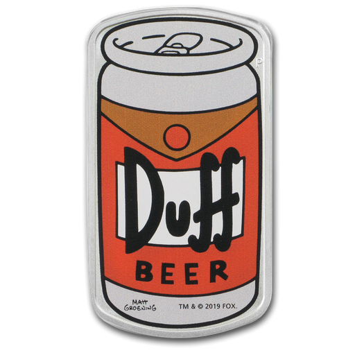 2019 Tuvalu 1 oz Silver The Simpsons: Duff Beer Proof - HMint Precious Metals