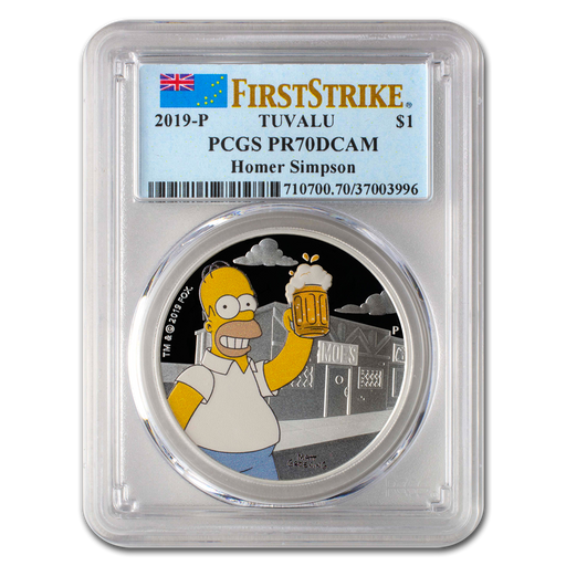 2019 Tuvalu 1 oz Silver The Simpsons Homer PR-70 PCGS (First Strike) - HMint Precious Metals