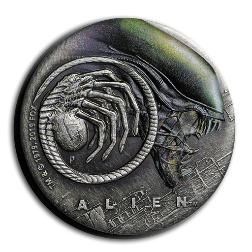 2019 Tuvalu 2 oz Silver 40th Anniversary Alien Antiqued - HMint Precious Metals