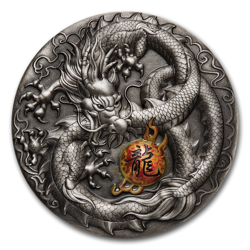 2019 Tuvalu 5 oz Silver Dragon Antiqued Finish (High Relief) - HMint Precious Metals