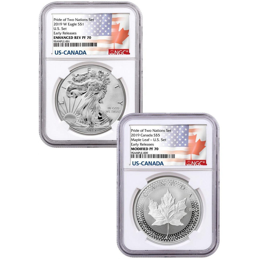 2019 US Mint Pride of Two Nations 2-Coin Set PF-70 NGC (First Release, Two Nation Label) - HMint Precious Metals
