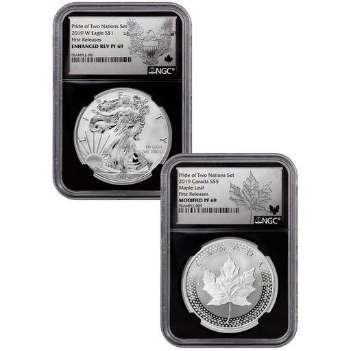 2019 US Mint/Canada Pride of Two Nations 2-Coin Set PF-69 NGC (First Release, Black Core) - HMint Precious Metals