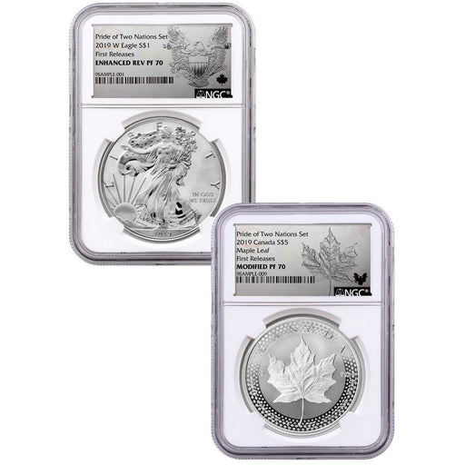 2019 US Mint/Canada Pride of Two Nations 2-Coin Set PF-70 NGC (First Release) - HMint Precious Metals