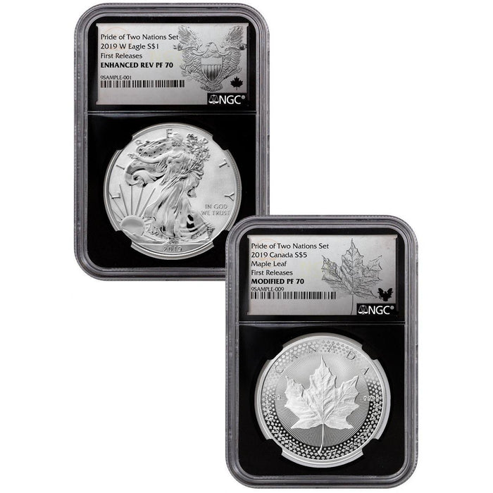 2019 US Mint/Canada Pride of Two Nations 2-Coin Set PF-70 NGC (First Release, Black Core) - HMint Precious Metals