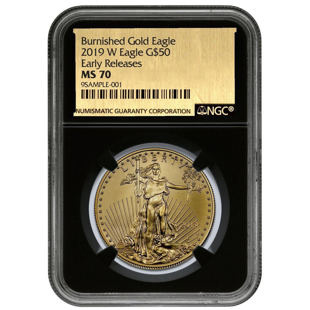 2019-W 1 oz Burnished Gold Eagle MS-70 NGC (First Day Issue, Gold Foil Label) - HMint Precious Metals