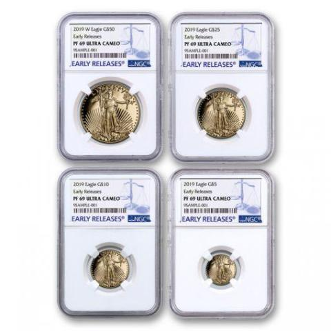 2019-W 4-Coin Proof Gold American Eagle PF-69 NGC Set (Early Releases) - HMint Precious Metals