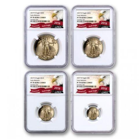 2019-W 4-Coin Proof Gold American Eagle PF-70 NGC Set (Early Releases) - HMint Precious Metals