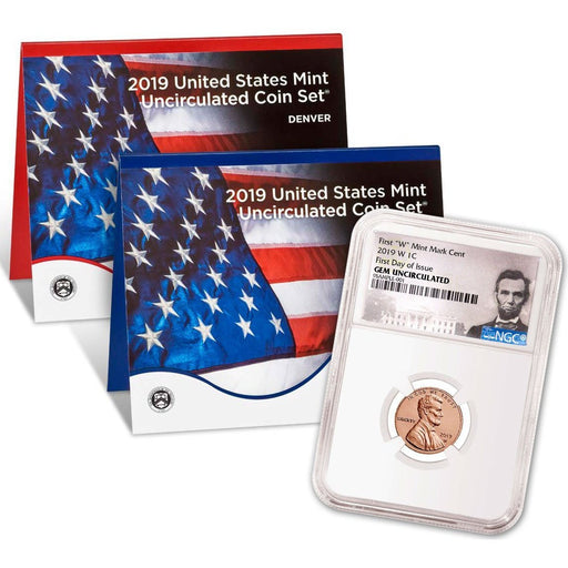 2019-W Lincoln Cent NGC Uncirculated (First Day) w/ 2019 U.S. Mint Set - HMint Precious Metals