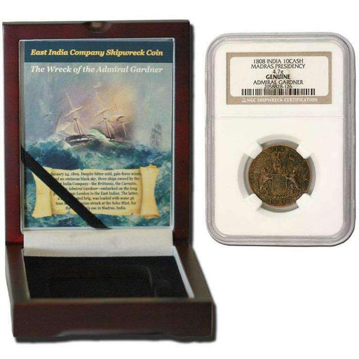 Admiral Gardner (1808) Shipwreck Treasure 10 Cash NGC Wood Box (High Grade) - HMint Precious Metals