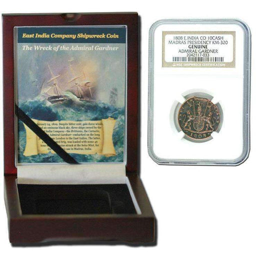 Admiral Gardner (1808) Shipwreck Treasure 10 Cash NGC Wood Box (Medium Grade) - HMint Precious Metals