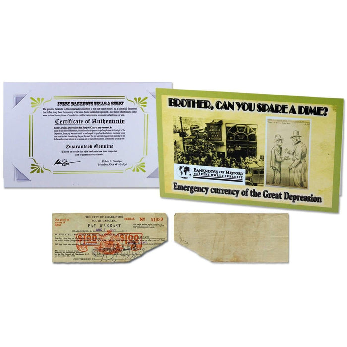 Emergency Currency of the Great Depression $1 Pay Warrant Single Banknote Folder - HMint Precious Metals