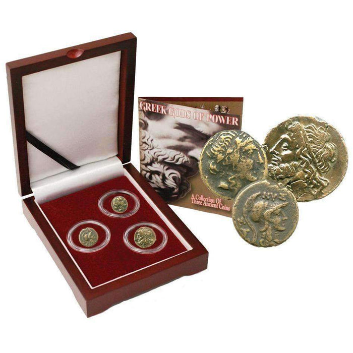 Greek Gods of Power: Box of 3 Ancient Greek Bronze Coins - HMint Precious Metals