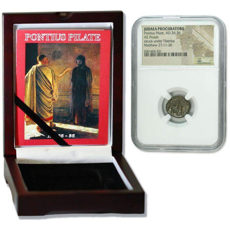 Judaea AE Pontius Pilate (AD 26-36) Prutah NGC Wood Box (Medium Grade) - HMint Precious Metals