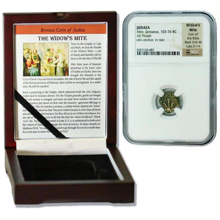 Judaea AE Widow's Mite (103-76 BC) Prutah NGC Wood Box (High Grade) - HMint Precious Metals