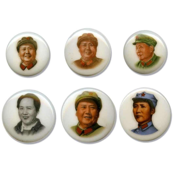 Large Porcelain Buttons: Chairman Mao (Set of 6) - HMint Precious Metals