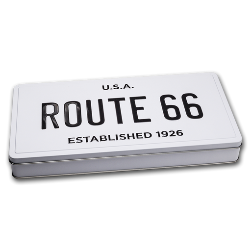 License Plate Tin Icons of Route 66 Shield Collection Display Box - HMint Precious Metals