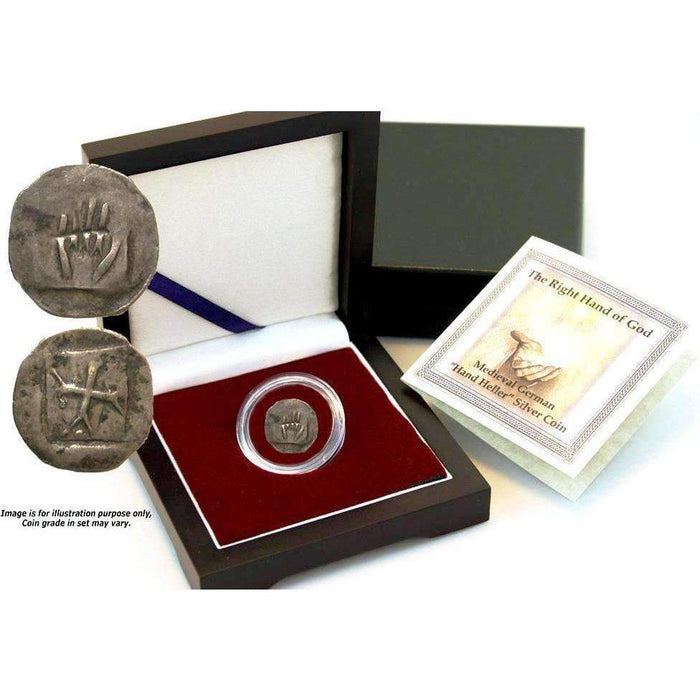 Right Hand of God Box: Medieval German Hand Heller Silver Coin - HMint Precious Metals