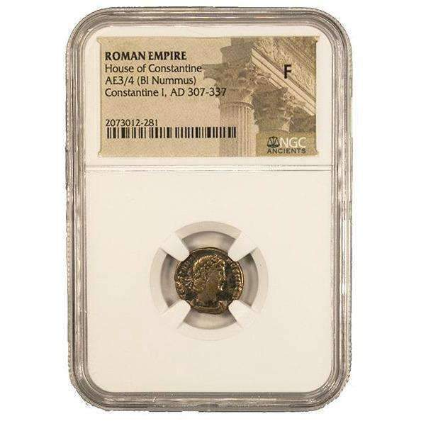 Roman AE of Constantine I, the Great (AD 272-337) NGC (F) - HMint Precious Metals