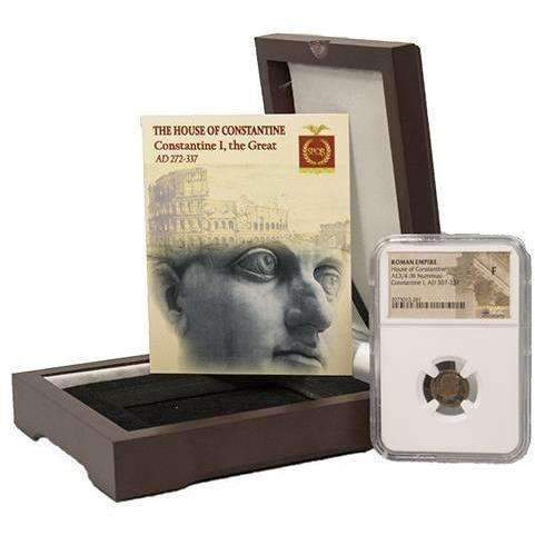 Roman AE of Constantine I, the Great (AD 272-337) NGC Wood Box (F) - HMint Precious Metals